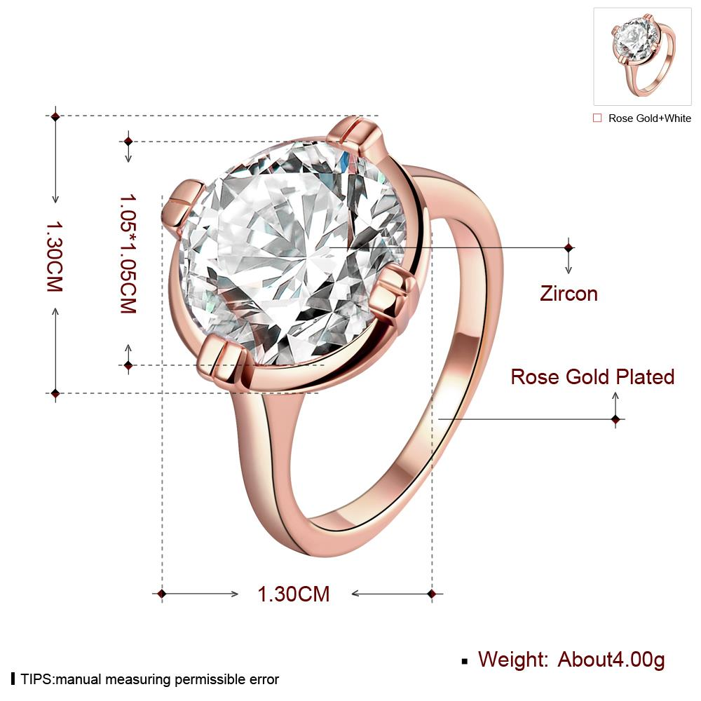 Wholesale Engagement rose gold Finger Ring for Women Big round Stone Clear Zirconia Rings Crystal Statement Fine Jewelry Female Gifts TGCZR328 0