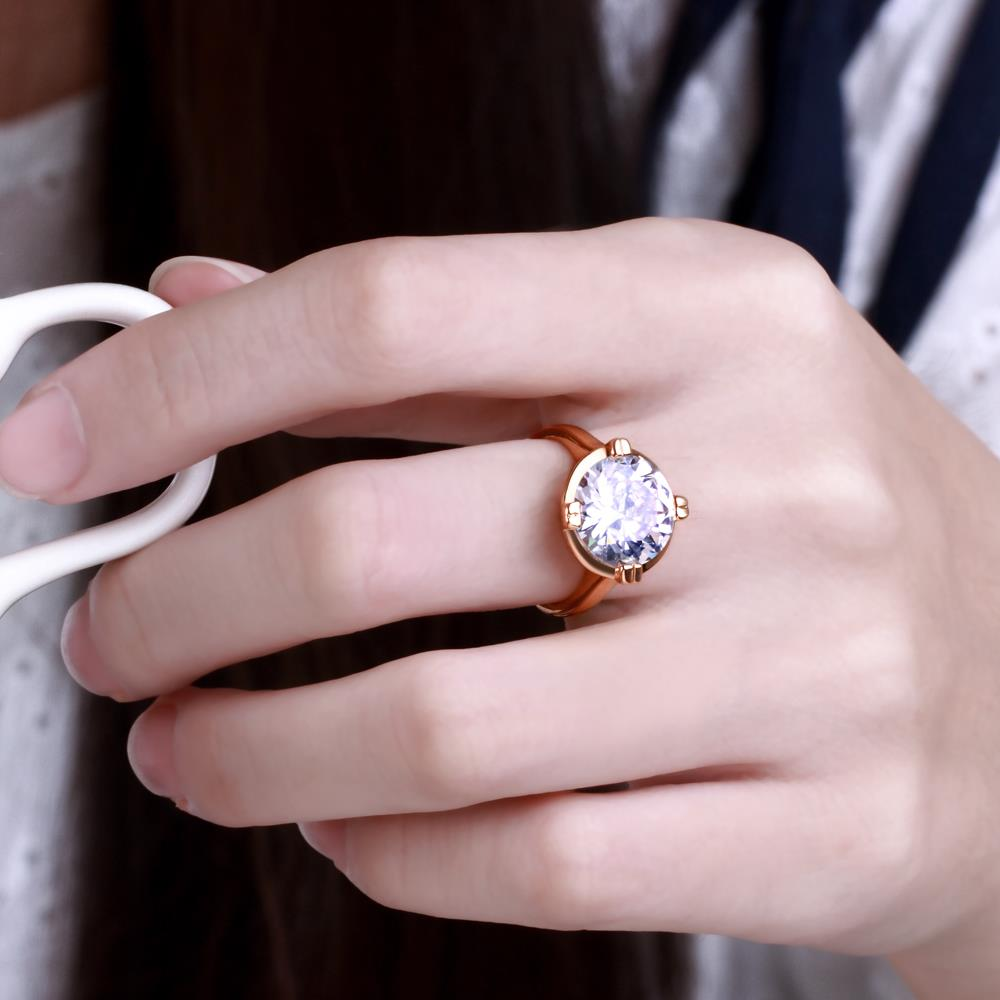Wholesale Engagement rose gold Finger Ring for Women Big round Stone Clear Zirconia Rings Crystal Statement Fine Jewelry Female Gifts TGCZR328 1