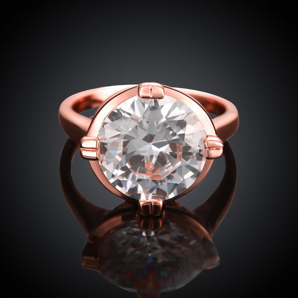 Wholesale Engagement rose gold Finger Ring for Women Big round Stone Clear Zirconia Rings Crystal Statement Fine Jewelry Female Gifts TGCZR328 3