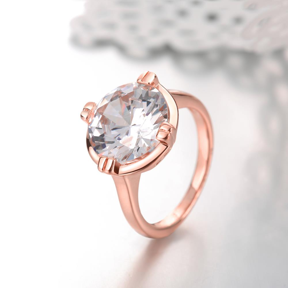 Wholesale Engagement rose gold Finger Ring for Women Big round Stone Clear Zirconia Rings Crystal Statement Fine Jewelry Female Gifts TGCZR328 4