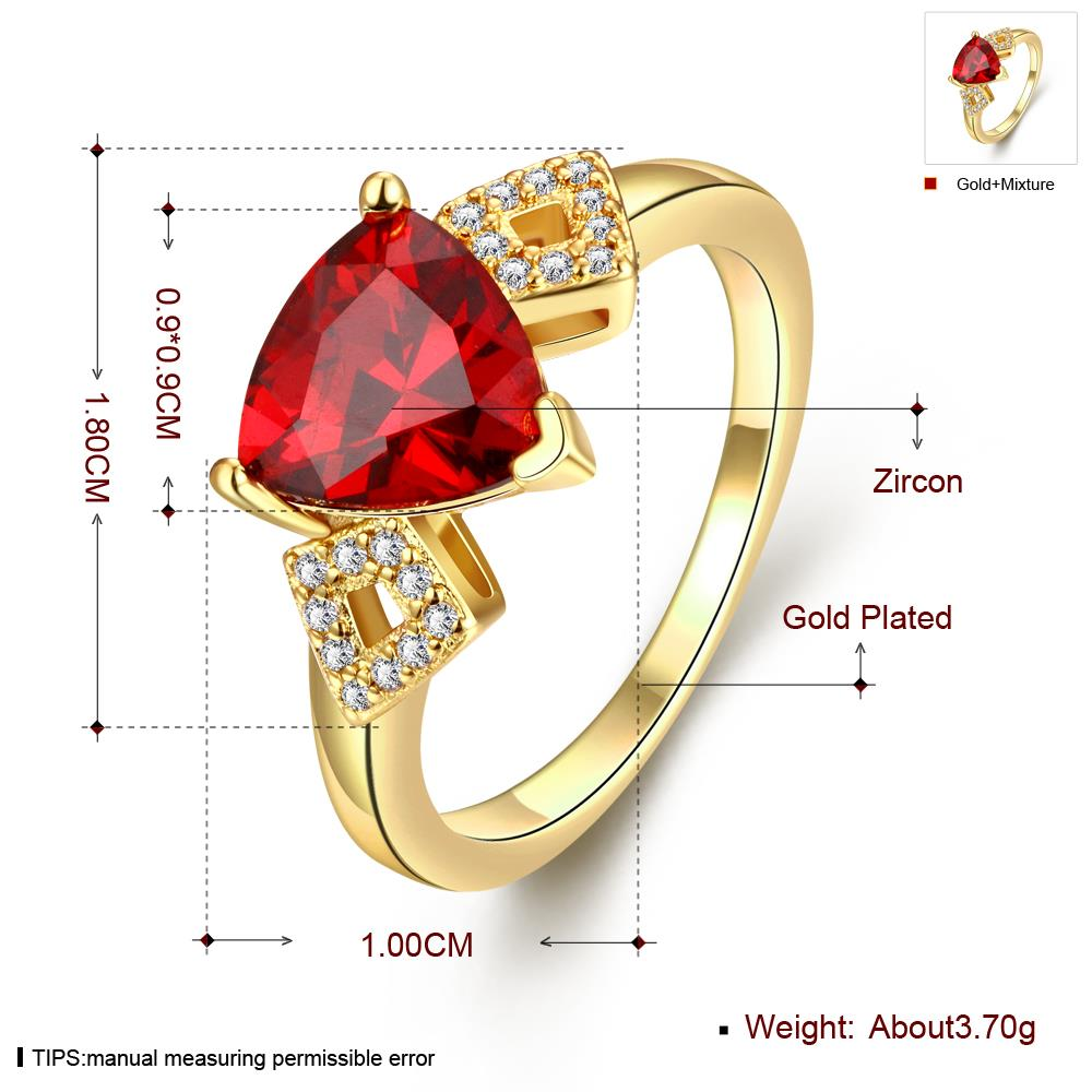 Wholesale Classic 24K Gold Geometric Red triangle Ring 5A CZ Zirconia Wedding Jewelry  Engagement for Women Gift TGCZR466 0