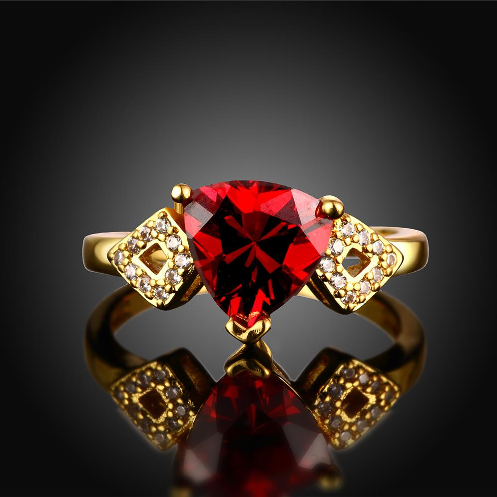 Wholesale Classic 24K Gold Geometric Red triangle Ring 5A CZ Zirconia Wedding Jewelry  Engagement for Women Gift TGCZR466 1