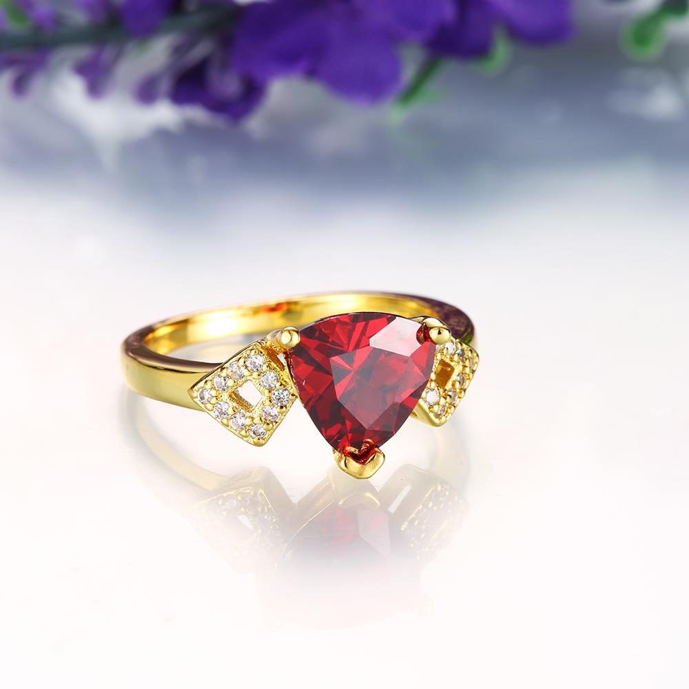 Wholesale Classic 24K Gold Geometric Red triangle Ring 5A CZ Zirconia Wedding Jewelry  Engagement for Women Gift TGCZR466 2