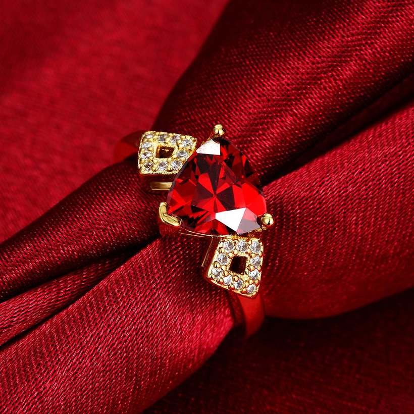 Wholesale Classic 24K Gold Geometric Red triangle Ring 5A CZ Zirconia Wedding Jewelry  Engagement for Women Gift TGCZR466 3