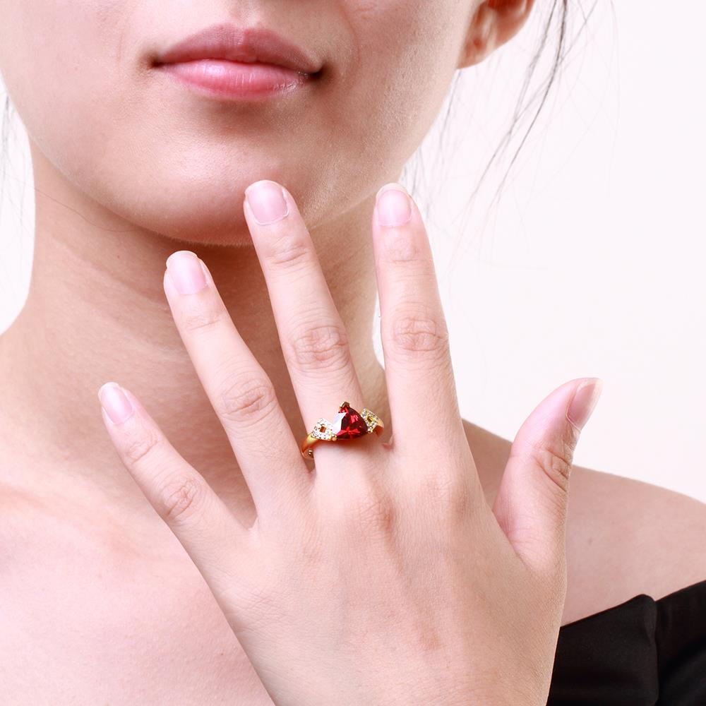 Wholesale Classic 24K Gold Geometric Red triangle Ring 5A CZ Zirconia Wedding Jewelry  Engagement for Women Gift TGCZR466 4