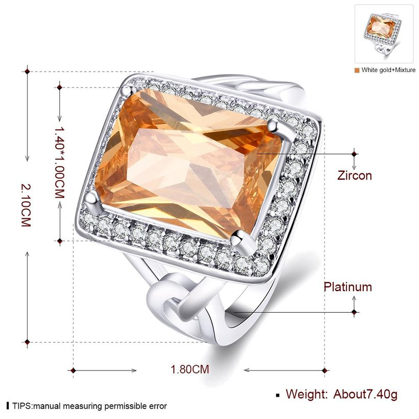 Wholesale Classic Platinum Square Large champagne Gem Rings Bohemian Style Wedding Ring for Women Party Engagement Jewelry  TGCZR041 0