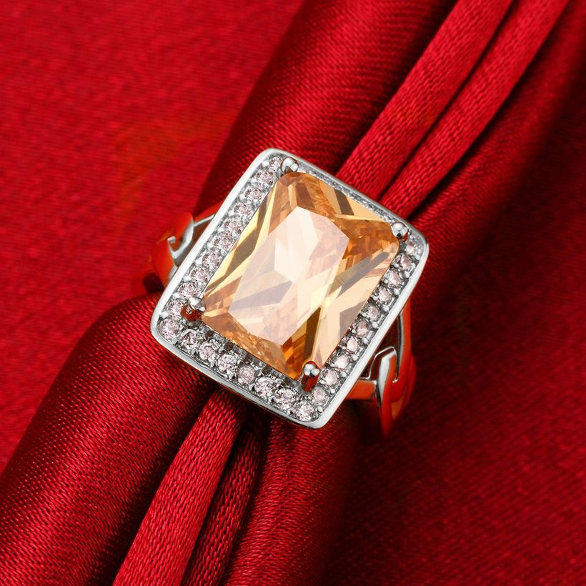 Wholesale Classic Platinum Square Large champagne Gem Rings Bohemian Style Wedding Ring for Women Party Engagement Jewelry  TGCZR041 2
