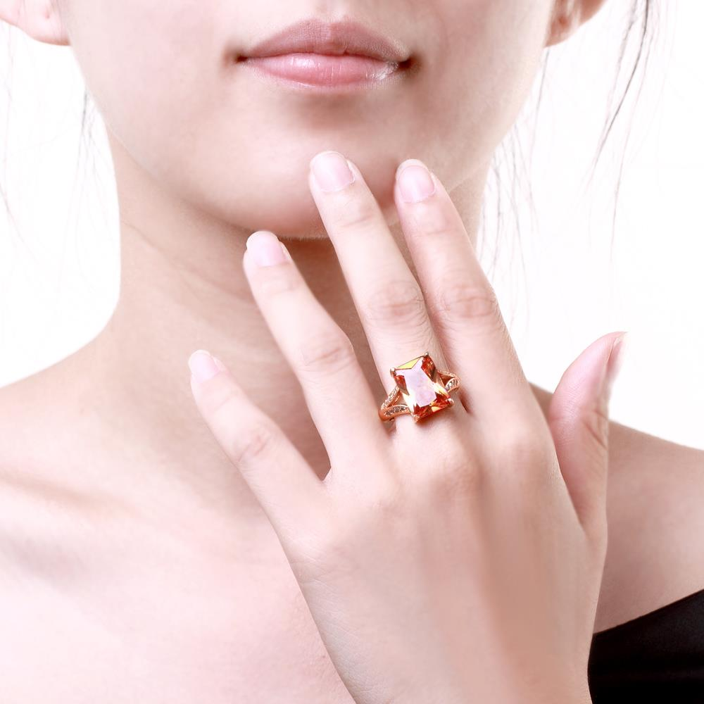 Wholesale ring series Classic 24K Gold plated yellow CZ Ring Luxury Ladies Party jewelry Best Mother's Gift TGCZR005 3