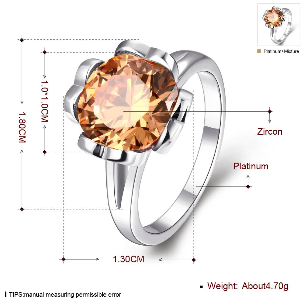 Wholesale Classic Platinum round champagne Gem Rings Bohemian Style Wedding Ring for Women Party Engagement Jewelry  TGCZR051 0