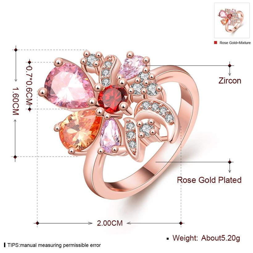 Wholesale Unique Design Top Sale Rose Gold Color Colorful AAA Zircon Wedding bijoux Flower Rings Jewelry For Women Gift Party TGCZR131 0