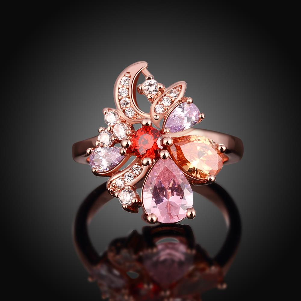 Wholesale Unique Design Top Sale Rose Gold Color Colorful AAA Zircon Wedding bijoux Flower Rings Jewelry For Women Gift Party TGCZR131 1