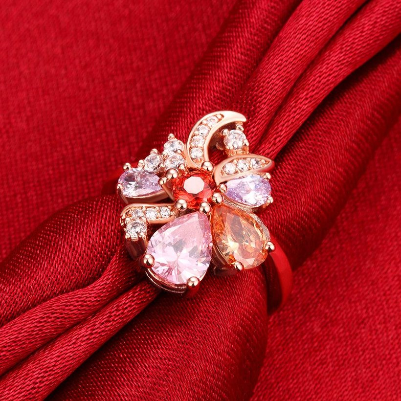 Wholesale Unique Design Top Sale Rose Gold Color Colorful AAA Zircon Wedding bijoux Flower Rings Jewelry For Women Gift Party TGCZR131 3