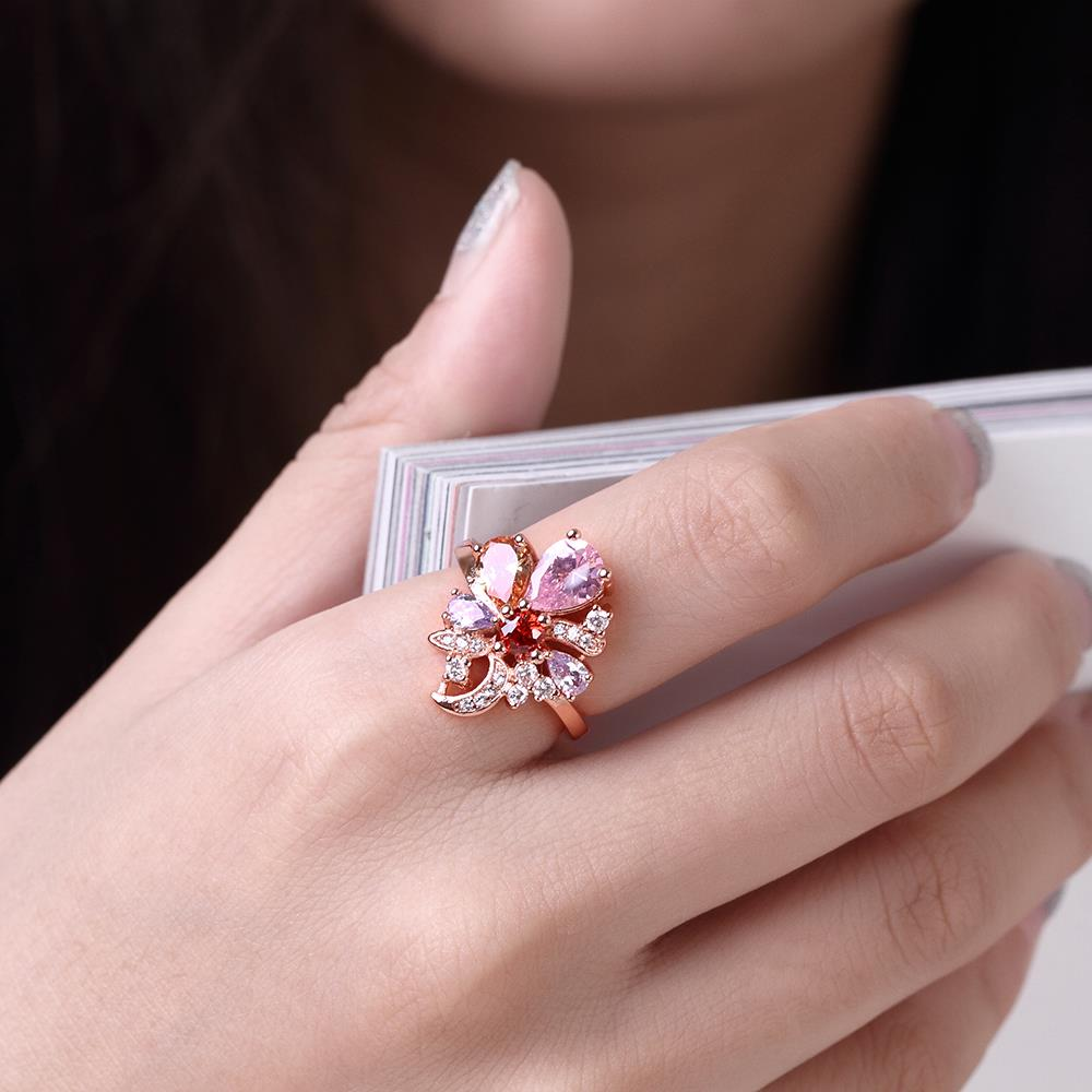 Wholesale Unique Design Top Sale Rose Gold Color Colorful AAA Zircon Wedding bijoux Flower Rings Jewelry For Women Gift Party TGCZR131 4