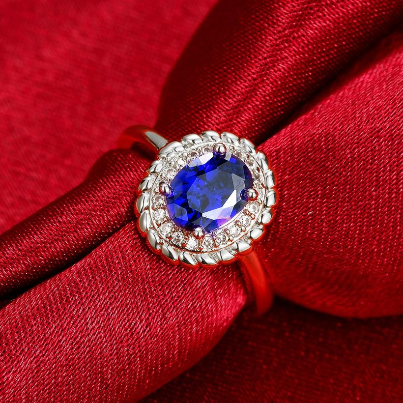 Wholesale Fashion Classic Platinum with oval blue zircon sapphire for Women Engagement Ring Silver woman party Gemstones Jewelry TGCZR304 1