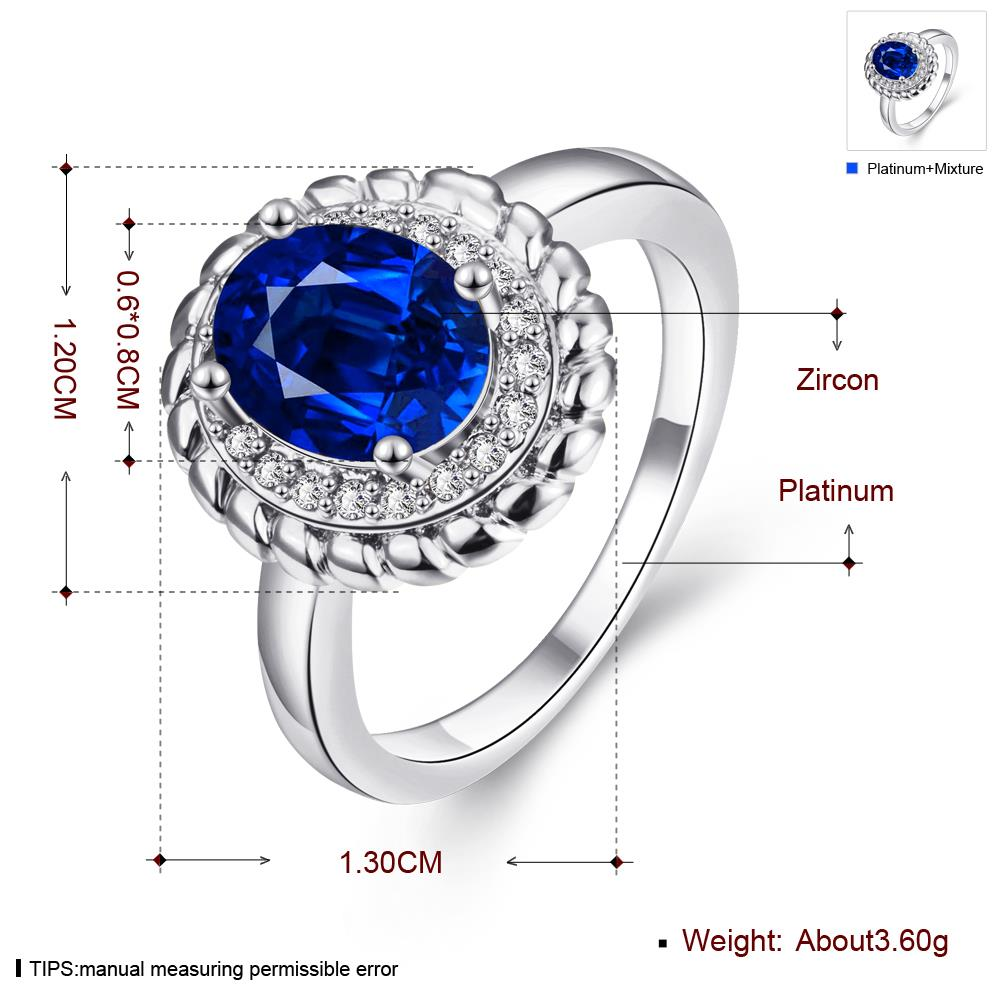Wholesale Fashion Classic Platinum with oval blue zircon sapphire for Women Engagement Ring Silver woman party Gemstones Jewelry TGCZR304 2