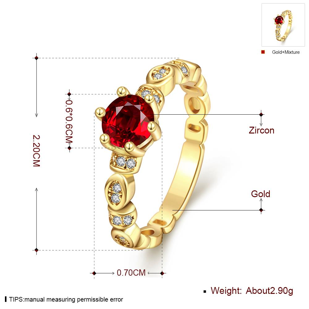 Wholesale Fashion jewelry from China Trendy round red AAA+ Cubic zircon Ring  For Women Romantic Style 24 k Gold color Hot jewelry TGCZR325 0
