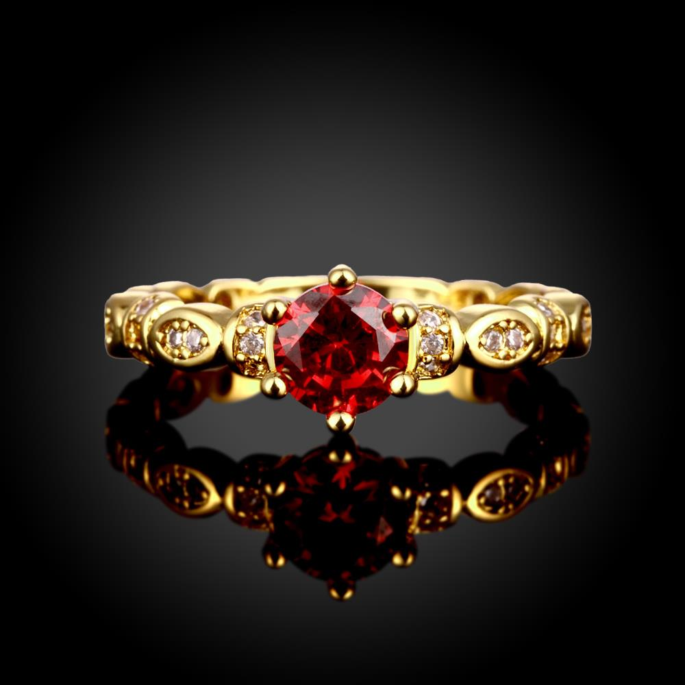Wholesale Fashion jewelry from China Trendy round red AAA+ Cubic zircon Ring  For Women Romantic Style 24 k Gold color Hot jewelry TGCZR325 1
