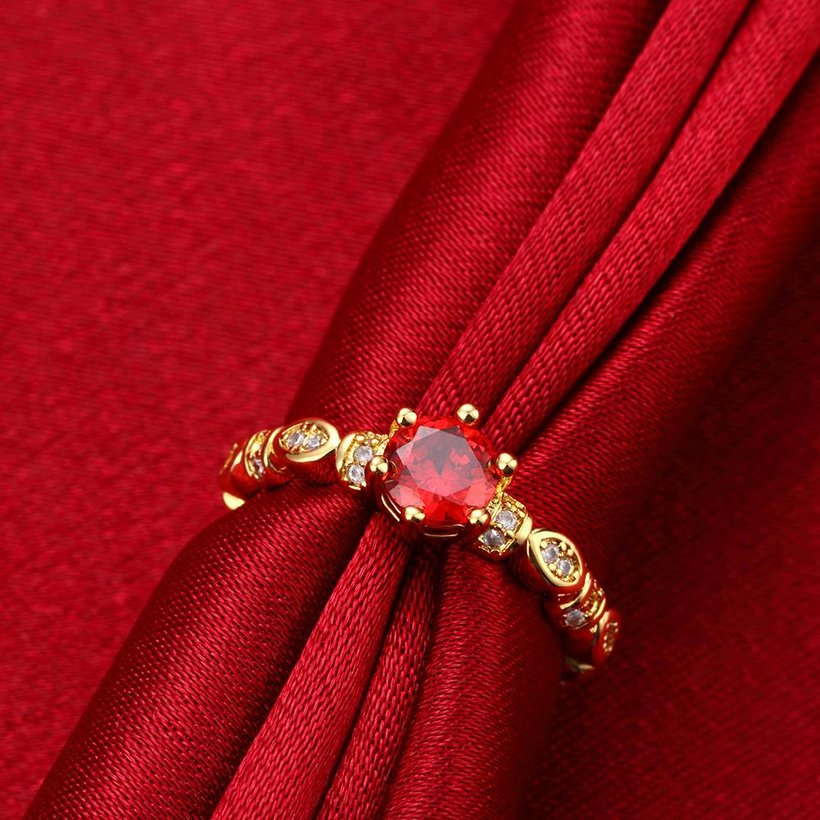 Wholesale Fashion jewelry from China Trendy round red AAA+ Cubic zircon Ring  For Women Romantic Style 24 k Gold color Hot jewelry TGCZR325 2