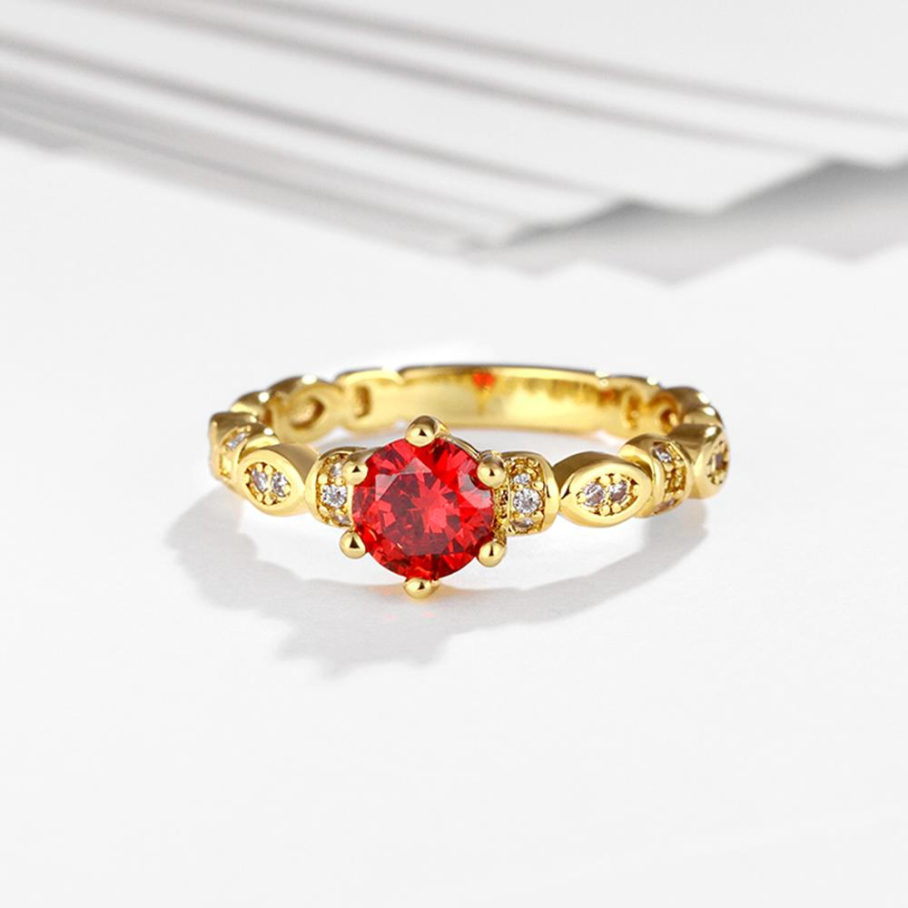 Wholesale Fashion jewelry from China Trendy round red AAA+ Cubic zircon Ring  For Women Romantic Style 24 k Gold color Hot jewelry TGCZR325 3
