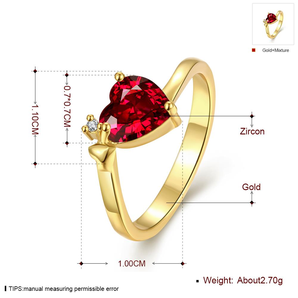 Wholesale Hot selling red zircon Stone Love Heart Engagement rings 24K gold Rings For Women Wedding Jewelry Bridal Accessories TGCZR341 0