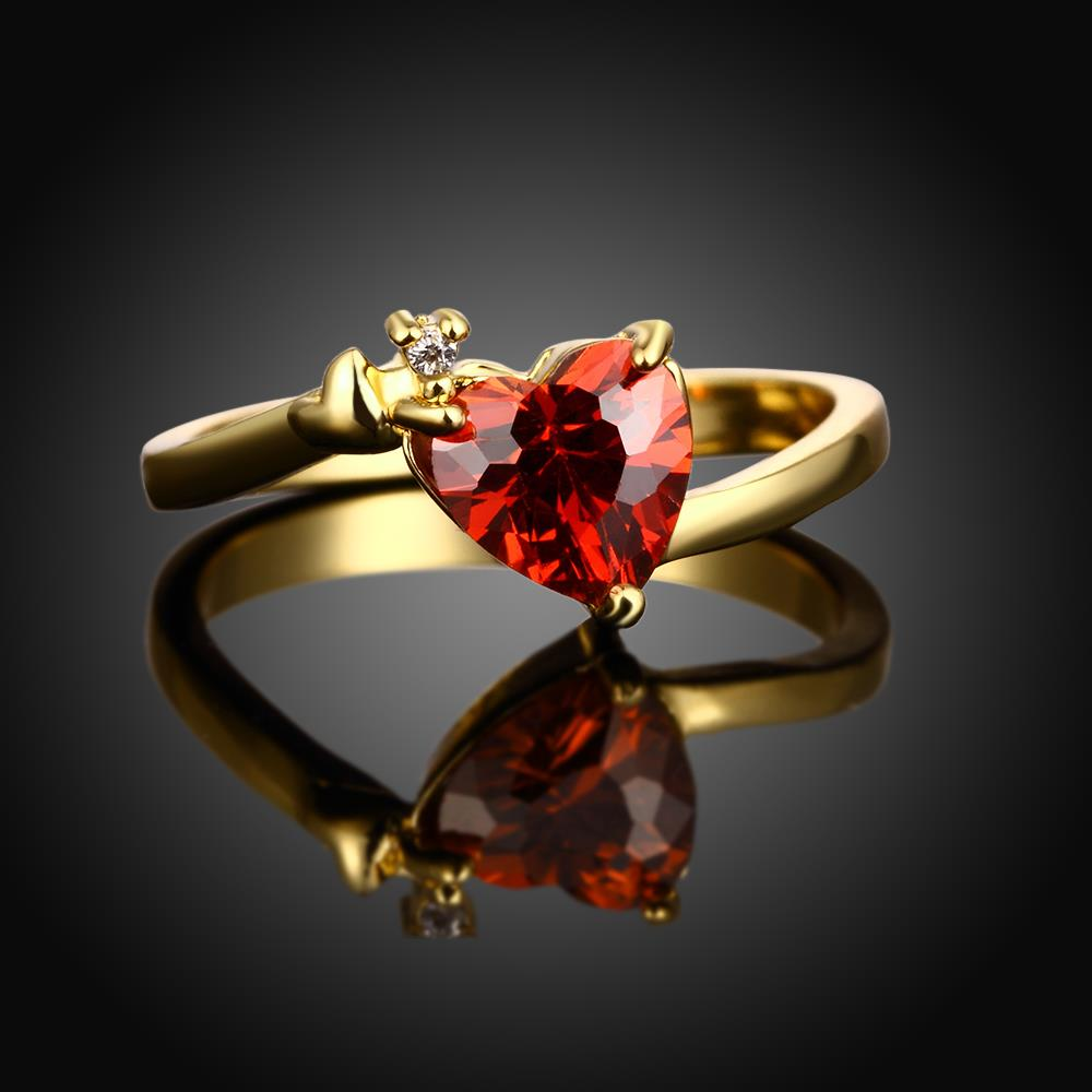 Wholesale Hot selling red zircon Stone Love Heart Engagement rings 24K gold Rings For Women Wedding Jewelry Bridal Accessories TGCZR341 1