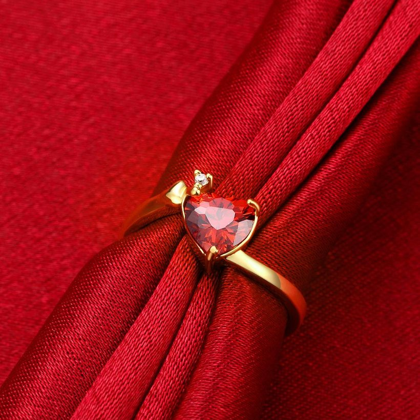 Wholesale Hot selling red zircon Stone Love Heart Engagement rings 24K gold Rings For Women Wedding Jewelry Bridal Accessories TGCZR341 2