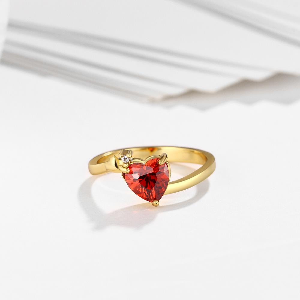 Wholesale Hot selling red zircon Stone Love Heart Engagement rings 24K gold Rings For Women Wedding Jewelry Bridal Accessories TGCZR341 3