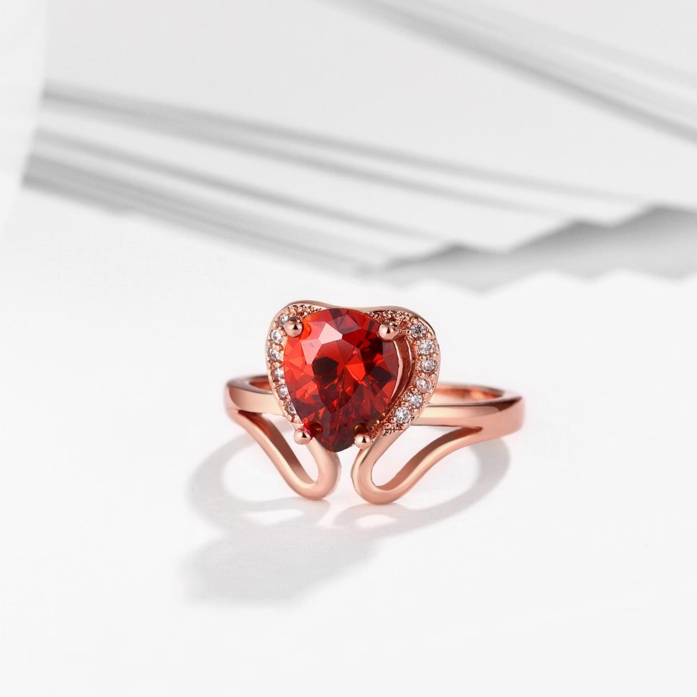 Wholesale European and American Ring Plated Rose Gold Love water drop Red Crystal Proposal Ring for Women Jewelry Engagement Ring TGCZR364 1