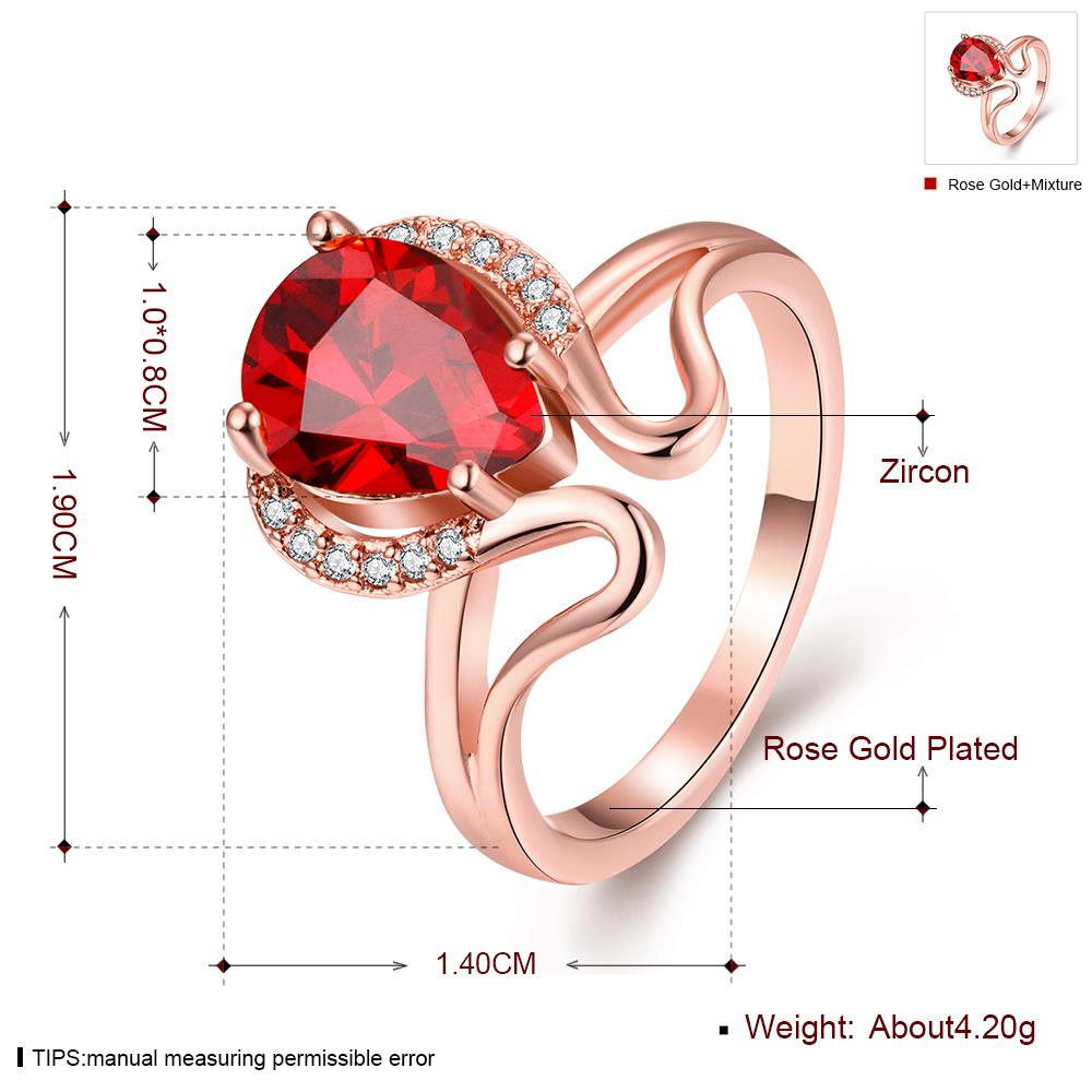 Wholesale European and American Ring Plated Rose Gold Love water drop Red Crystal Proposal Ring for Women Jewelry Engagement Ring TGCZR364 3