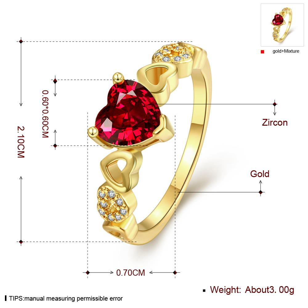 Wholesale jewelry from China Trendy 24K gold Ring heart shape red Zircon for Women Fine Jewelry Wedding Party Gifts TGCZR380 0