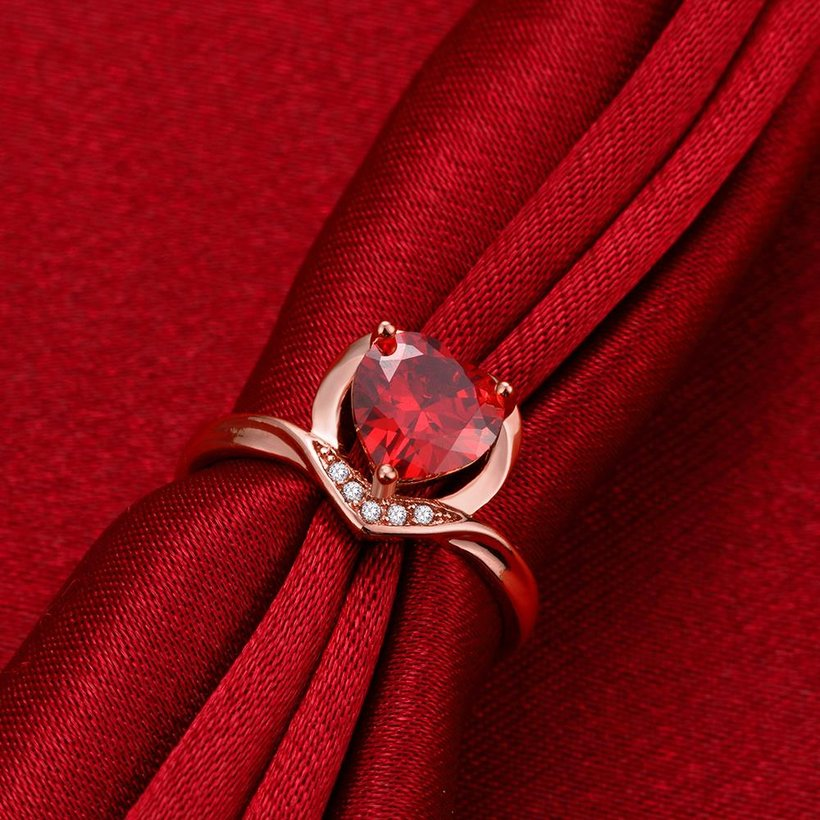 Wholesale European and American Ring Plated Rose Gold Love heart Red Crystal Proposal Rings for Women Jewelry Engagement jewelry TGCZR391 0