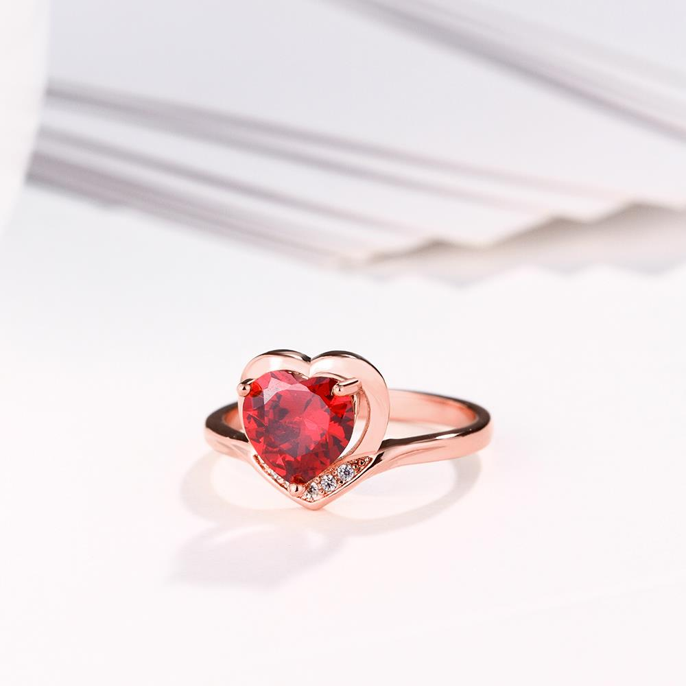 Wholesale European and American Ring Plated Rose Gold Love heart Red Crystal Proposal Rings for Women Jewelry Engagement jewelry TGCZR391 1