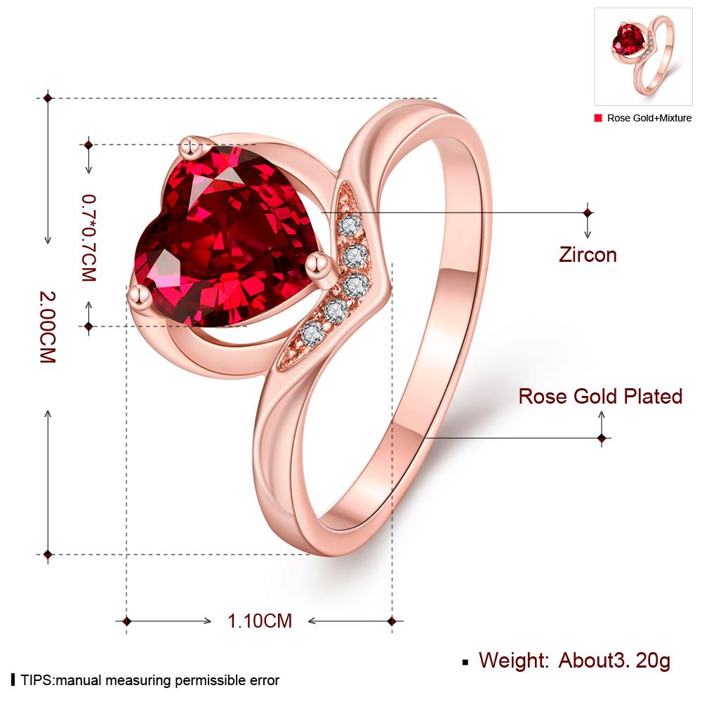 Wholesale European and American Ring Plated Rose Gold Love heart Red Crystal Proposal Rings for Women Jewelry Engagement jewelry TGCZR391 3