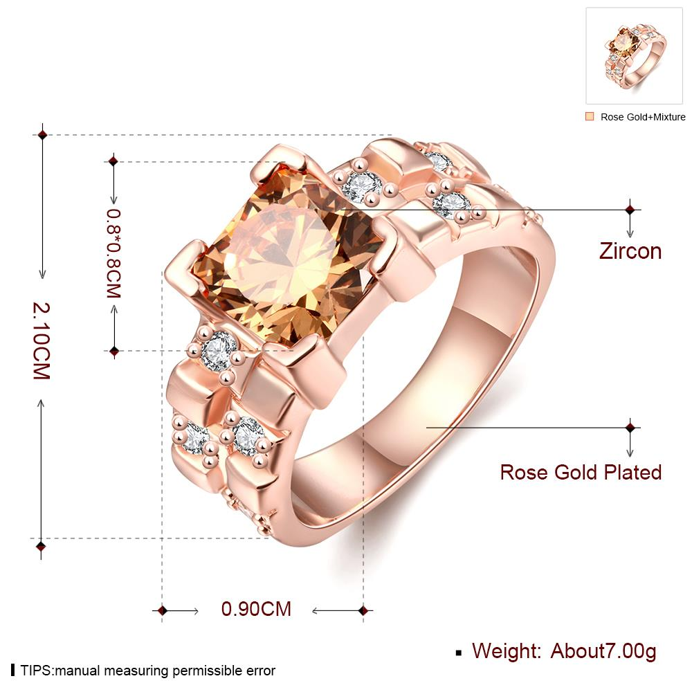 Wholesale Classical rose gold Rings square Shape Diamond Wedding rings yellow zircon Ring For Women Gift Wedding Bands jewelry TGCZR406 0
