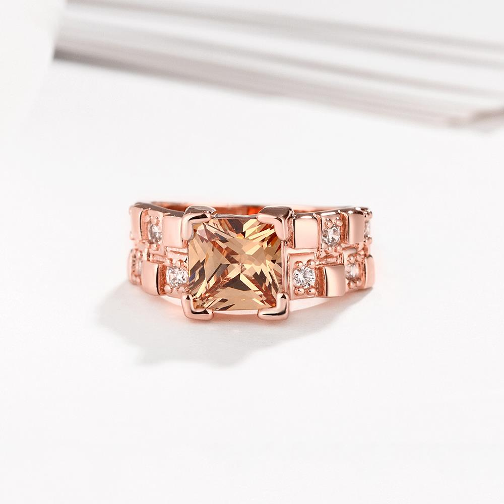 Wholesale Classical rose gold Rings square Shape Diamond Wedding rings yellow zircon Ring For Women Gift Wedding Bands jewelry TGCZR406 1