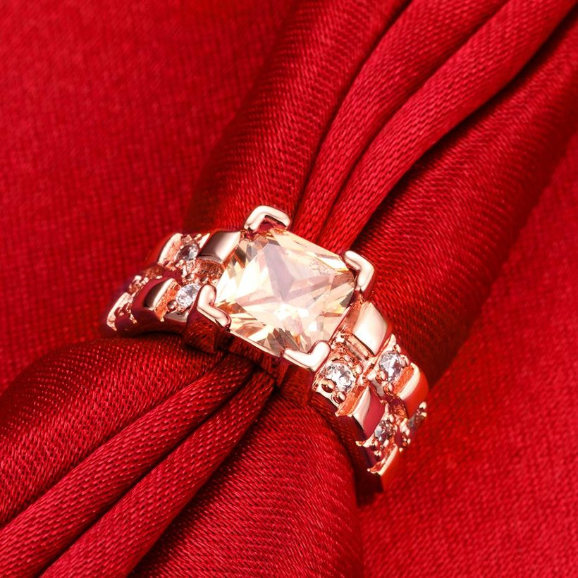 Wholesale Classical rose gold Rings square Shape Diamond Wedding rings yellow zircon Ring For Women Gift Wedding Bands jewelry TGCZR406 2