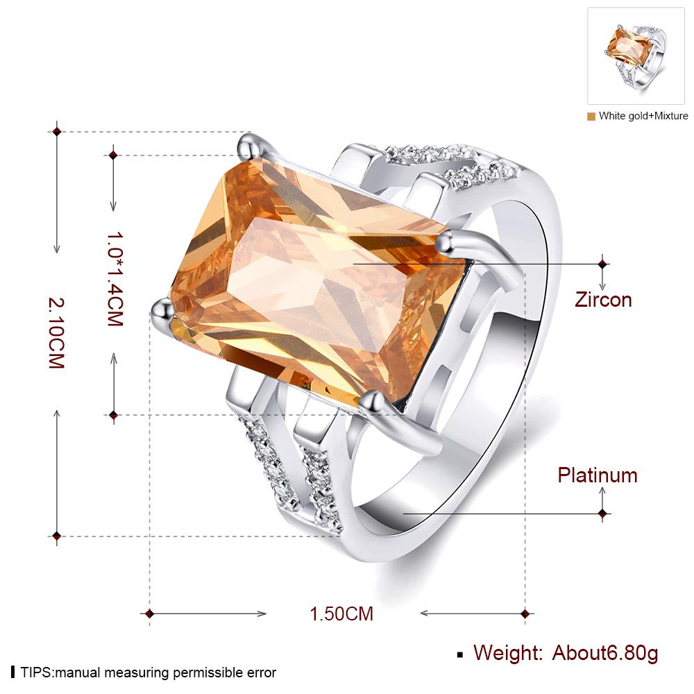 Wholesale Classic Platinum Square Large champagne Gem Rings Bohemian Style Wedding Ring for Women Party Engagement Jewelry  TGCZR042 0
