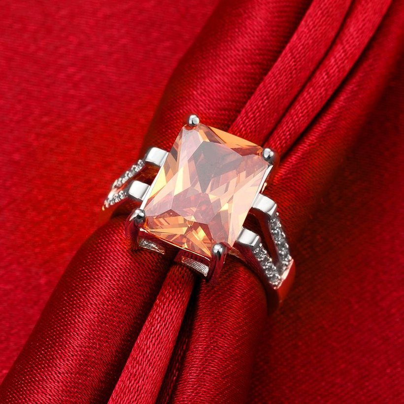 Wholesale Classic Platinum Square Large champagne Gem Rings Bohemian Style Wedding Ring for Women Party Engagement Jewelry  TGCZR042 2