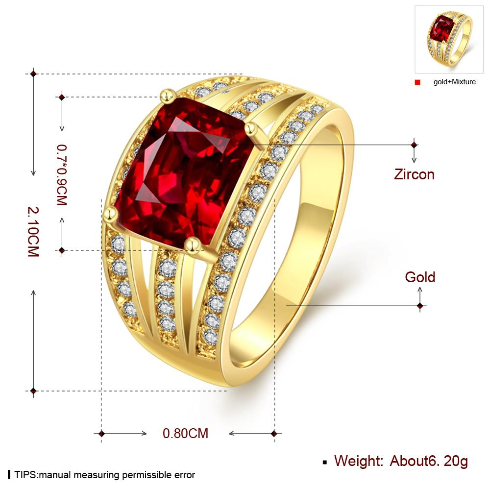 Wholesale wedding rings series Classic Gold Plated red big cubic Zirconia Luxury Ladies Party wedding jewelry Best Mother's Gift TGCZR069 0