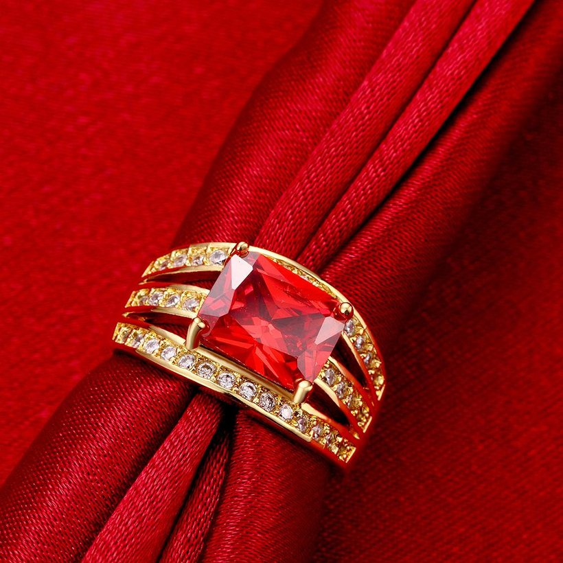 Wholesale wedding rings series Classic Gold Plated red big cubic Zirconia Luxury Ladies Party wedding jewelry Best Mother's Gift TGCZR069 2