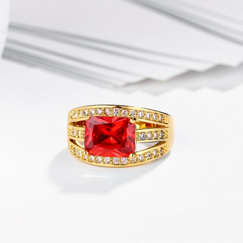 Wholesale wedding rings series Classic Gold Plated red big cubic Zirconia Luxury Ladies Party wedding jewelry Best Mother's Gift TGCZR069 3
