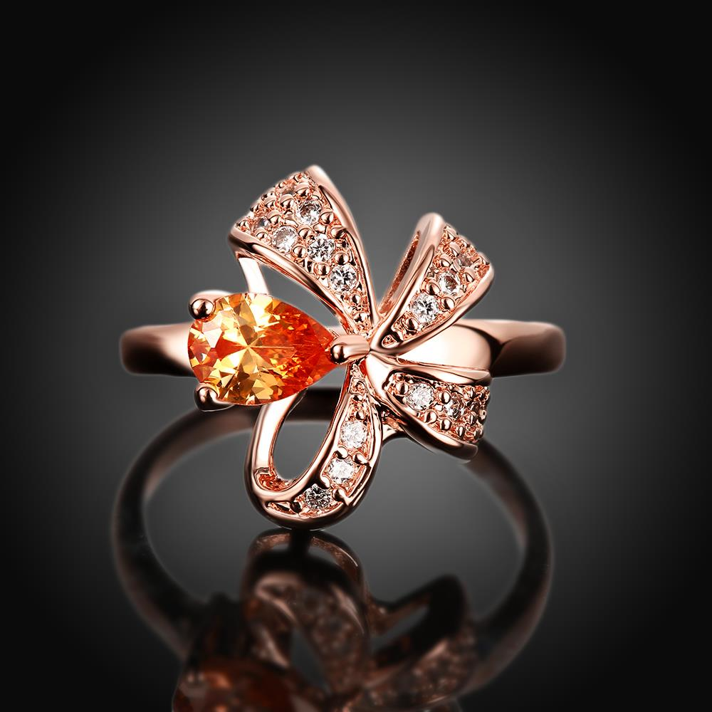 Wholesale Korean Fashion rose gold Crystal zircon Ring Gold Color Flower Shape Elegant Vintage Rings For Women wedding party Jewelry TGCZR146 1