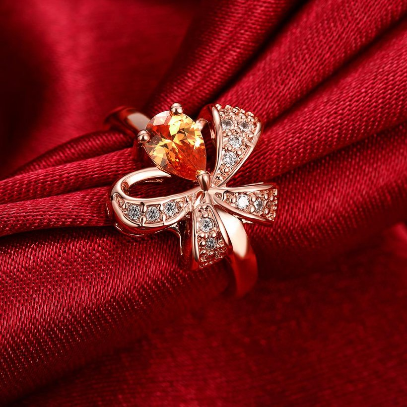 Wholesale Korean Fashion rose gold Crystal zircon Ring Gold Color Flower Shape Elegant Vintage Rings For Women wedding party Jewelry TGCZR146 2