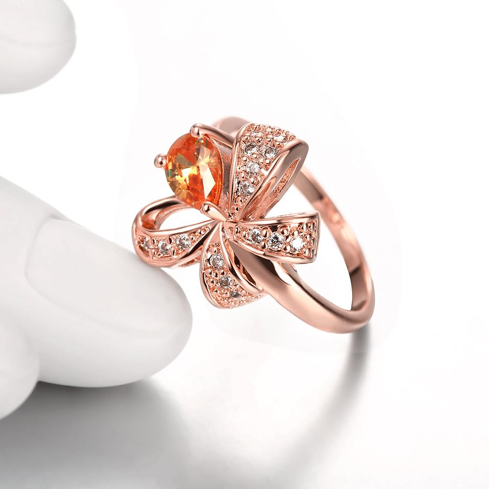 Wholesale Korean Fashion rose gold Crystal zircon Ring Gold Color Flower Shape Elegant Vintage Rings For Women wedding party Jewelry TGCZR146 3