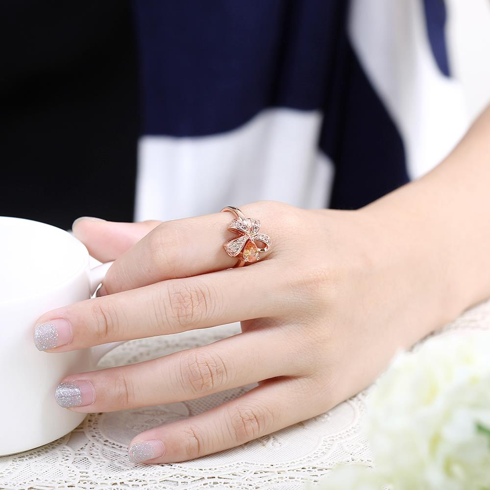 Wholesale Korean Fashion rose gold Crystal zircon Ring Gold Color Flower Shape Elegant Vintage Rings For Women wedding party Jewelry TGCZR146 4