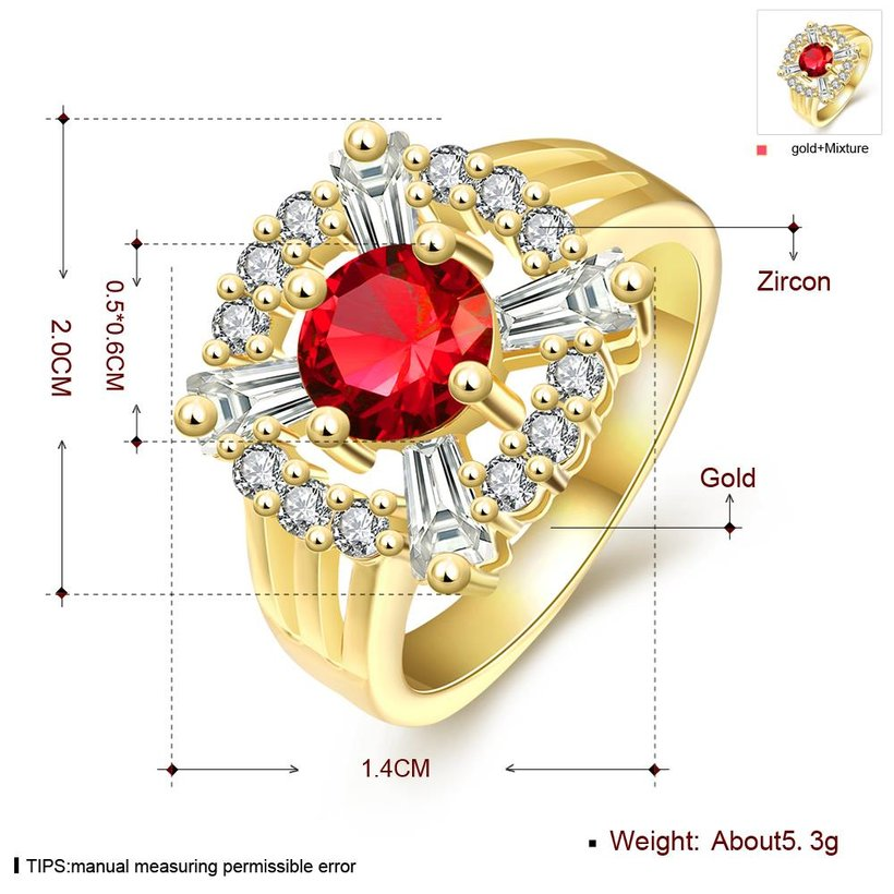 Wholesale Romantic 24K Gold Court style Ruby Luxurious red Classic Engagement Ring wedding party Ring For Women TGCZR187 0