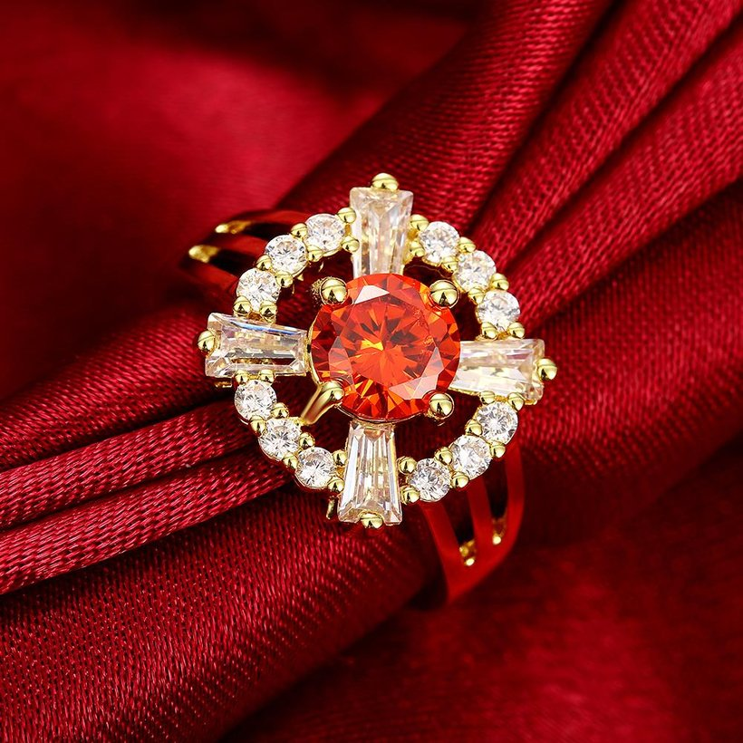 Wholesale Romantic 24K Gold Court style Ruby Luxurious red Classic Engagement Ring wedding party Ring For Women TGCZR187 2