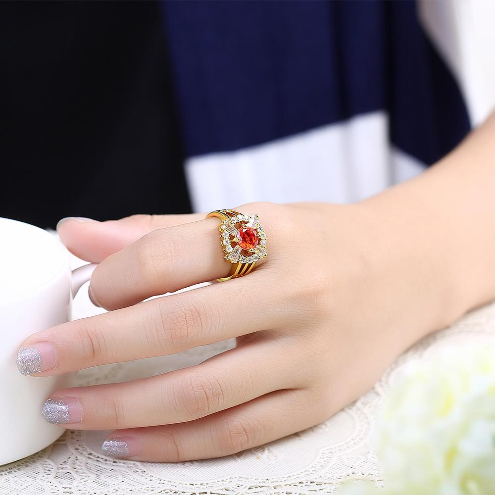 Wholesale Romantic 24K Gold Court style Ruby Luxurious red Classic Engagement Ring wedding party Ring For Women TGCZR187 4