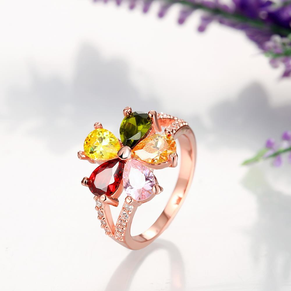 Wholesale Fashion Brand rose gold Luxury Five Colors AAA Cubic Zircon flower Shape Rings For Women Jewelry Wedding Party Gift TGCZR195 1
