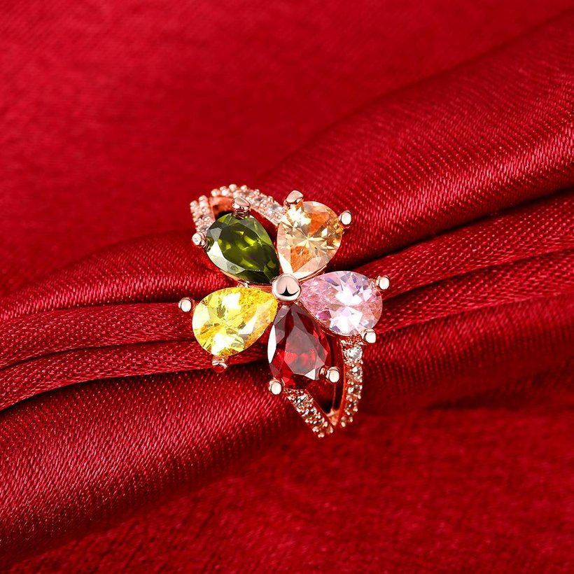 Wholesale Fashion Brand rose gold Luxury Five Colors AAA Cubic Zircon flower Shape Rings For Women Jewelry Wedding Party Gift TGCZR195 3